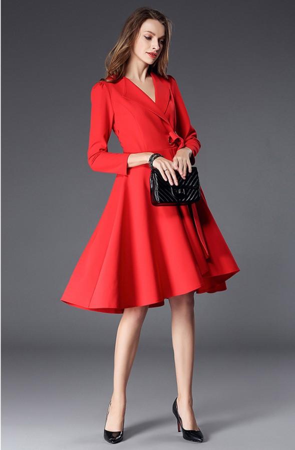 Raudona  (juoda)  suknelė su kaspinu S-M  (VIN1283_1)