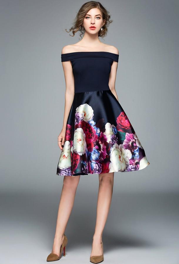 Juoda berankovė suknelė, gėlėtu sijonu S-L  (VIN1315)