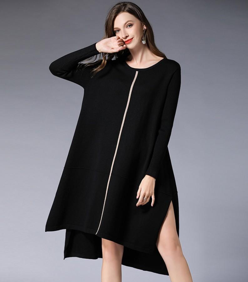 Raudona (juoda, rusva) laisvo kirpimo suknelė - tunika. Vienas dydis (VIN1484_1)