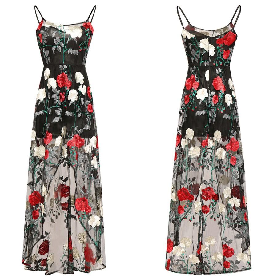 Juoda siuvinėta gėlėmis tiulinė suknelė  S  (VIN1407_1)