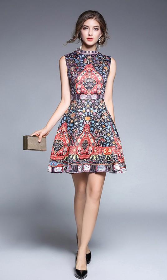 Marga egzotiškų raštų berankovė suknelė S-L  (VIN1321)