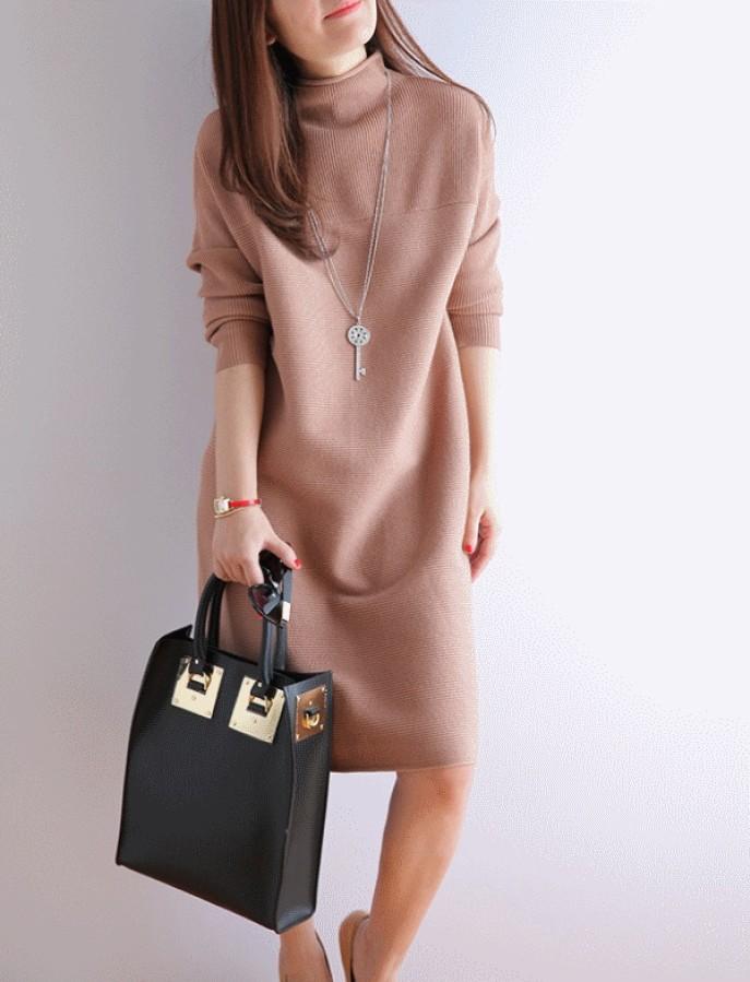 Megztinio tipo rusvos spalvos megzta suknelė S (VIN185_1)