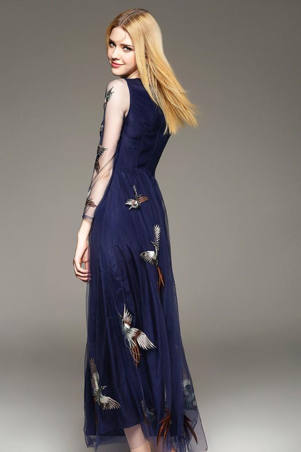 Mėlyna elegantiška tiulinė suknelė siuvinėta paukščių motyvais XS (VIN1165_1)