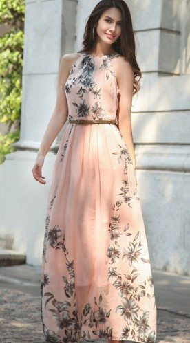 Persikinės spalvos gėlėta berankovė ilga suknelė  M (VIN1131_1)