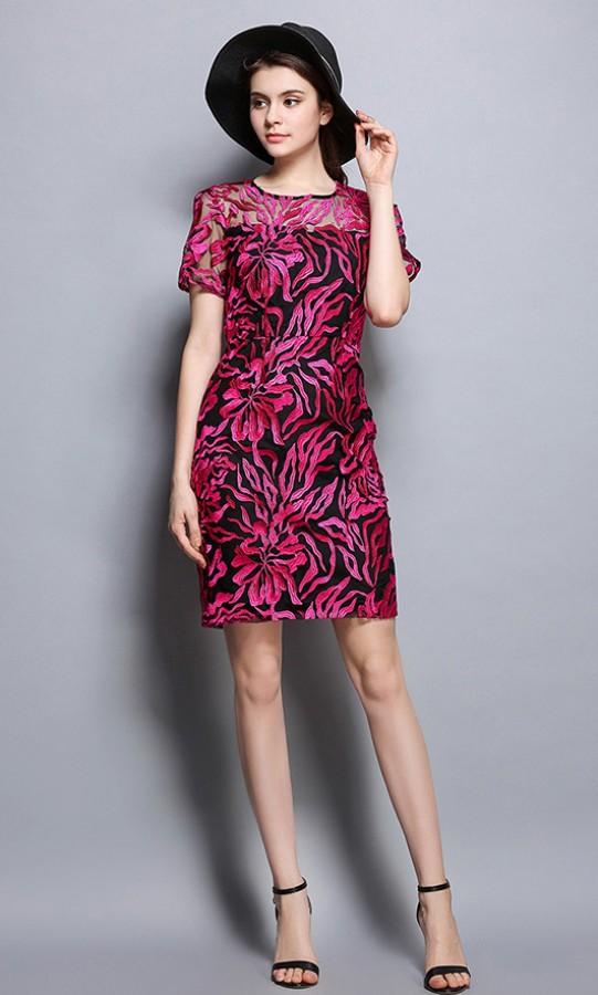 Purpurinė siuvinėta suknelė  L-XL  (VIN1055_1)