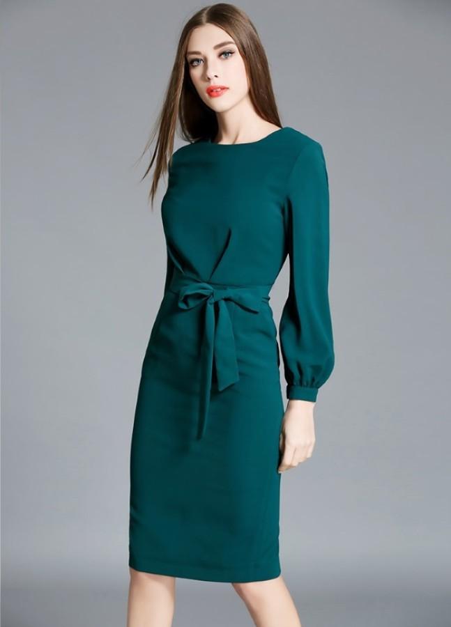 Sodrios smaragdo spalvos suknelė (VIN161_1)