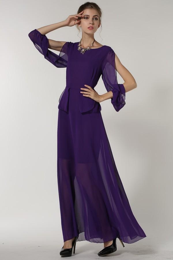 Violetinė šifoninė suknelė, atviromis rankovėmis S-L  (VIN1361)