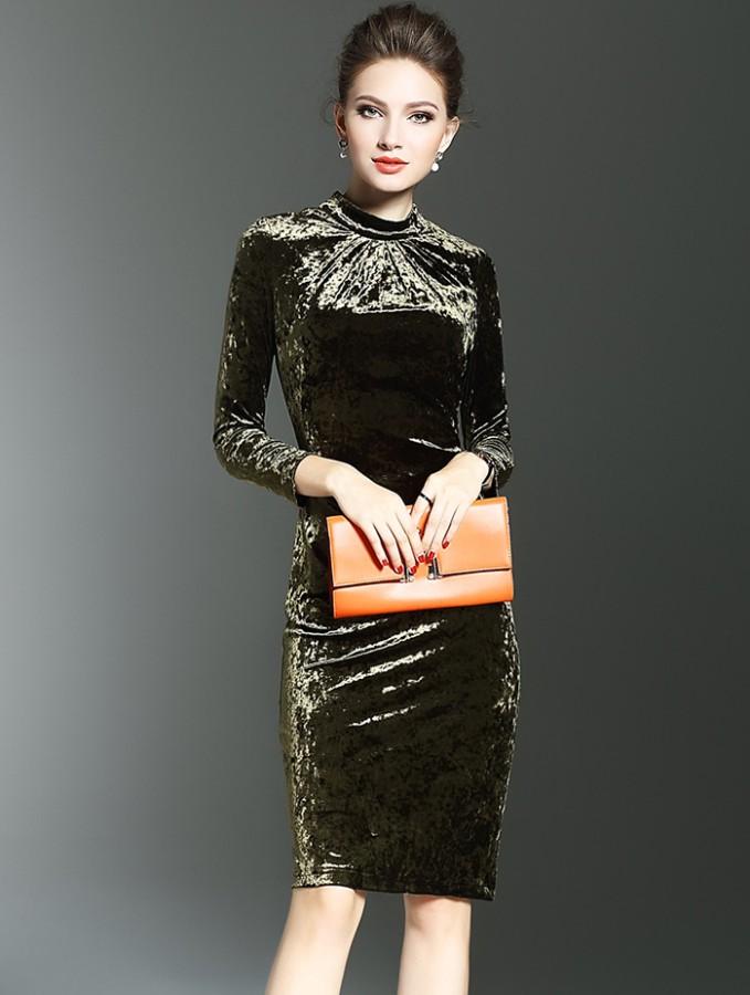 Žalsvos (chaki) spalvos aksominė suknelė XS-S  (VIN1239_1)